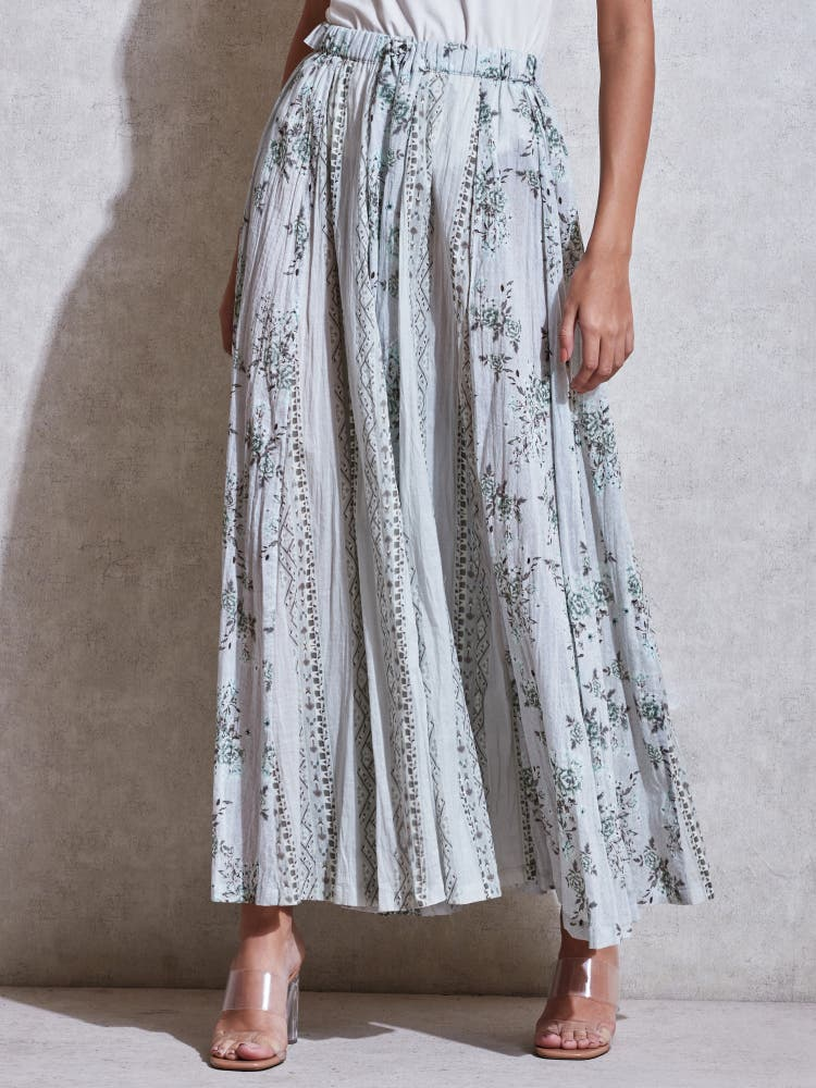 Sage Green Floral Flared Palazzo