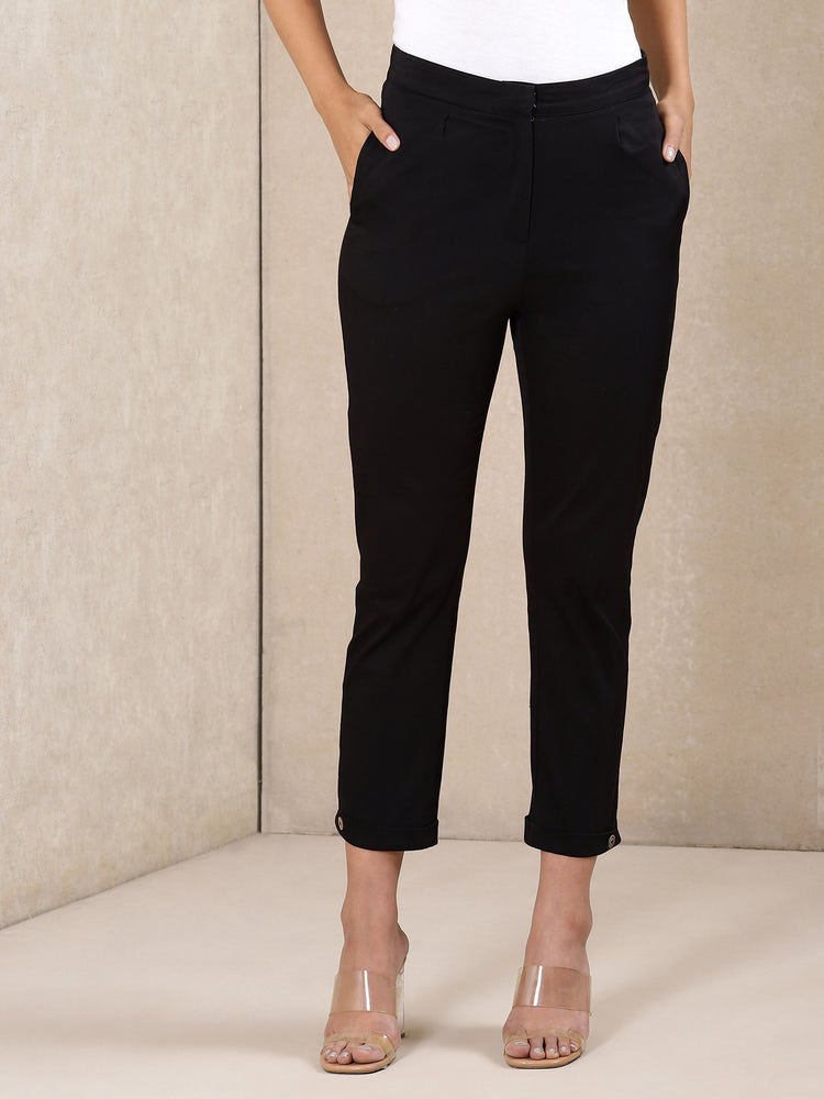 Black Ankle-Length Trousers