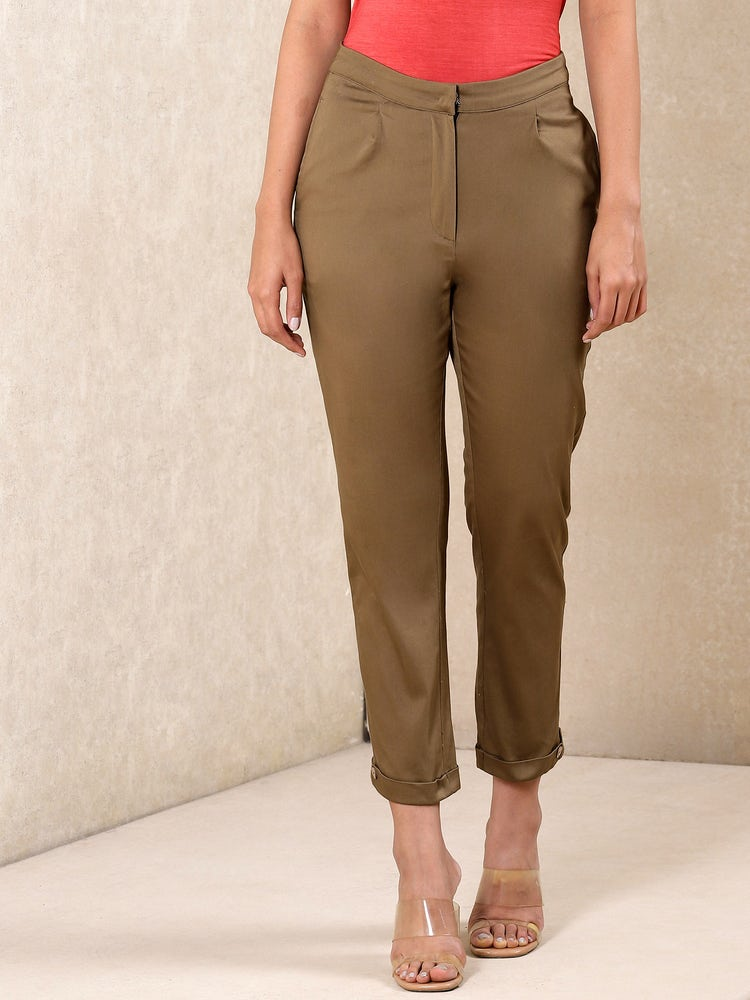 Olive Ankle-Length Trousers