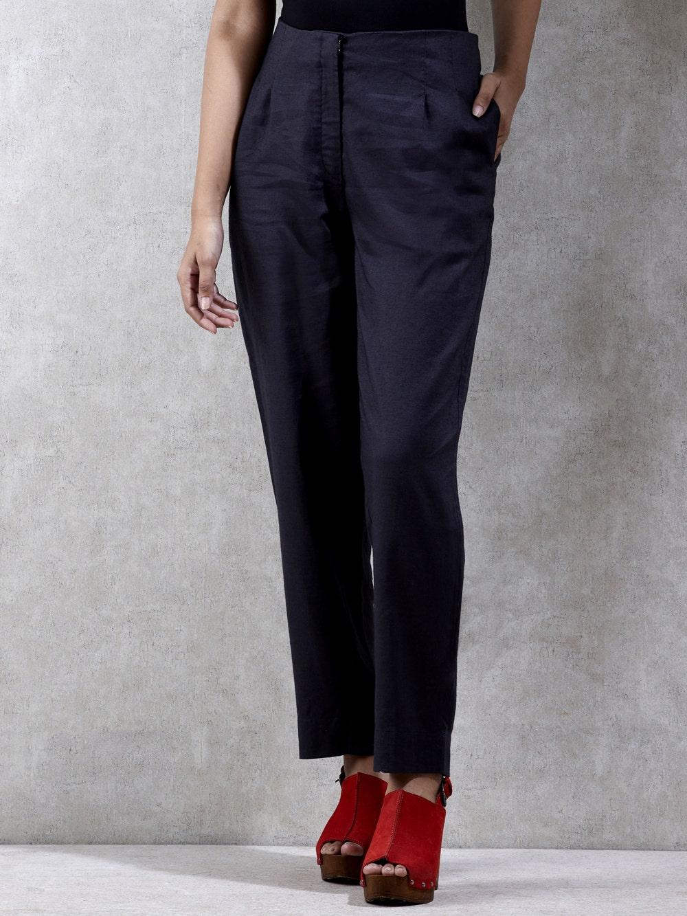 Black Solid Trouser