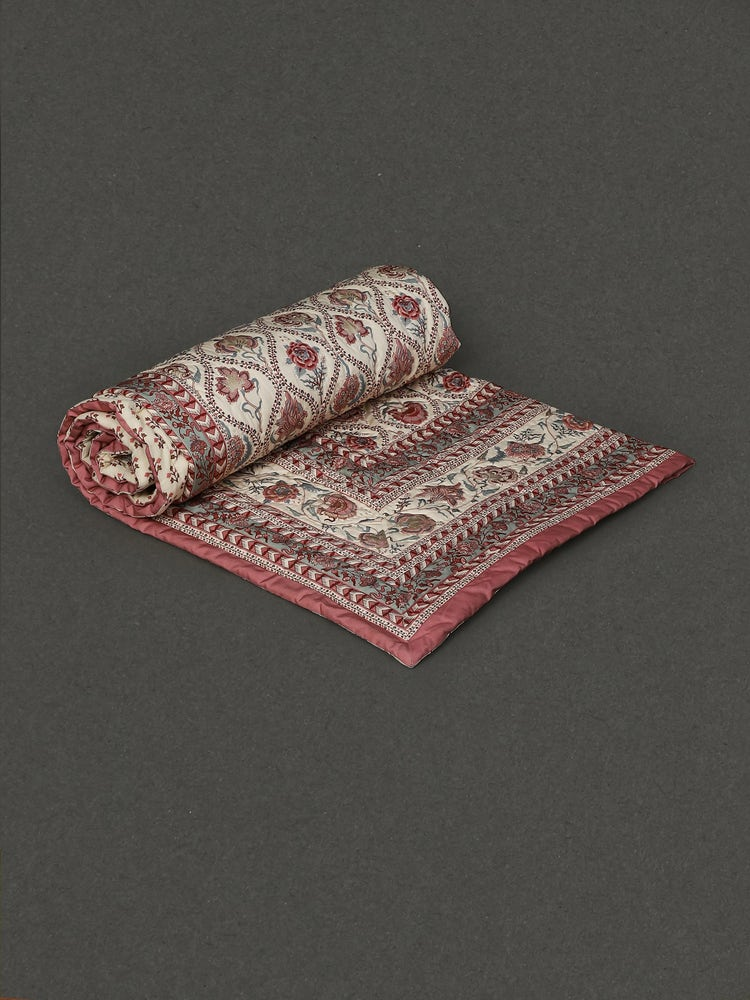 Ivory Lavana Printed Double Bed Quilt