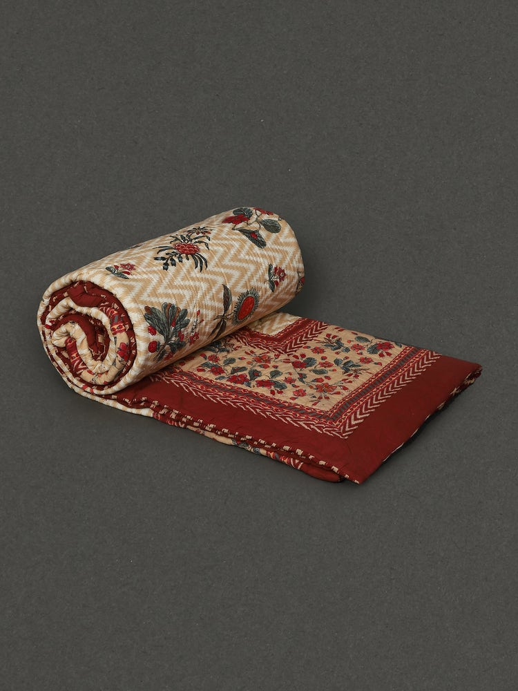 Ecru & Red Flora Double Quilt