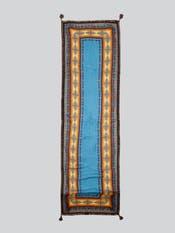 Blue Printed Rectangular Long Scarf