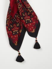 Burgundy & Black Temple Print Scarf