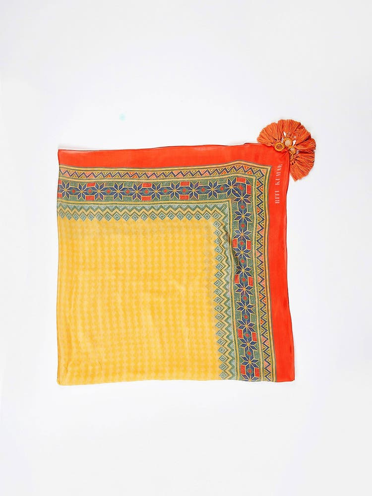 Yellow & Rust Printed Scarf