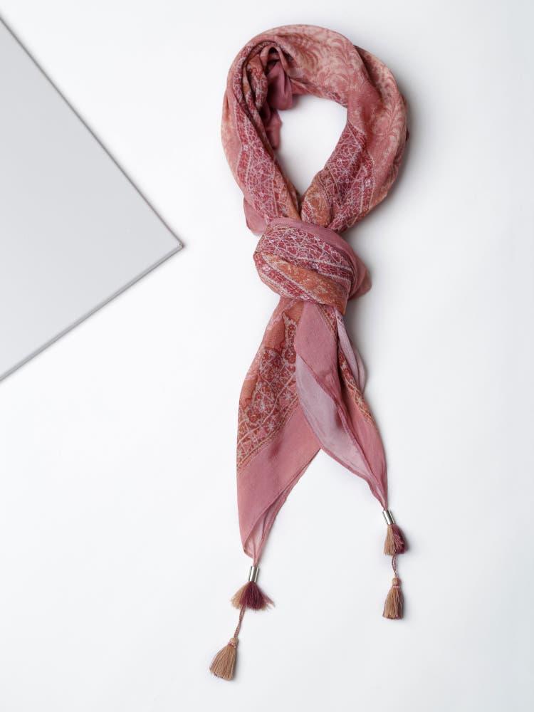 Pink Geometric Print Scarf