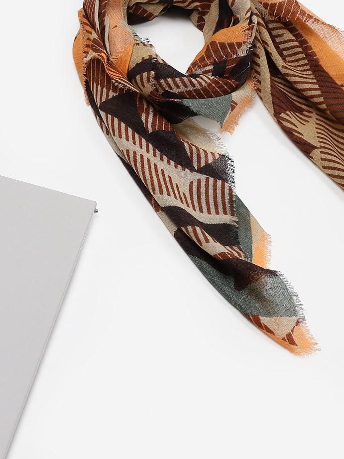 Brown Qamara Printed Scarf