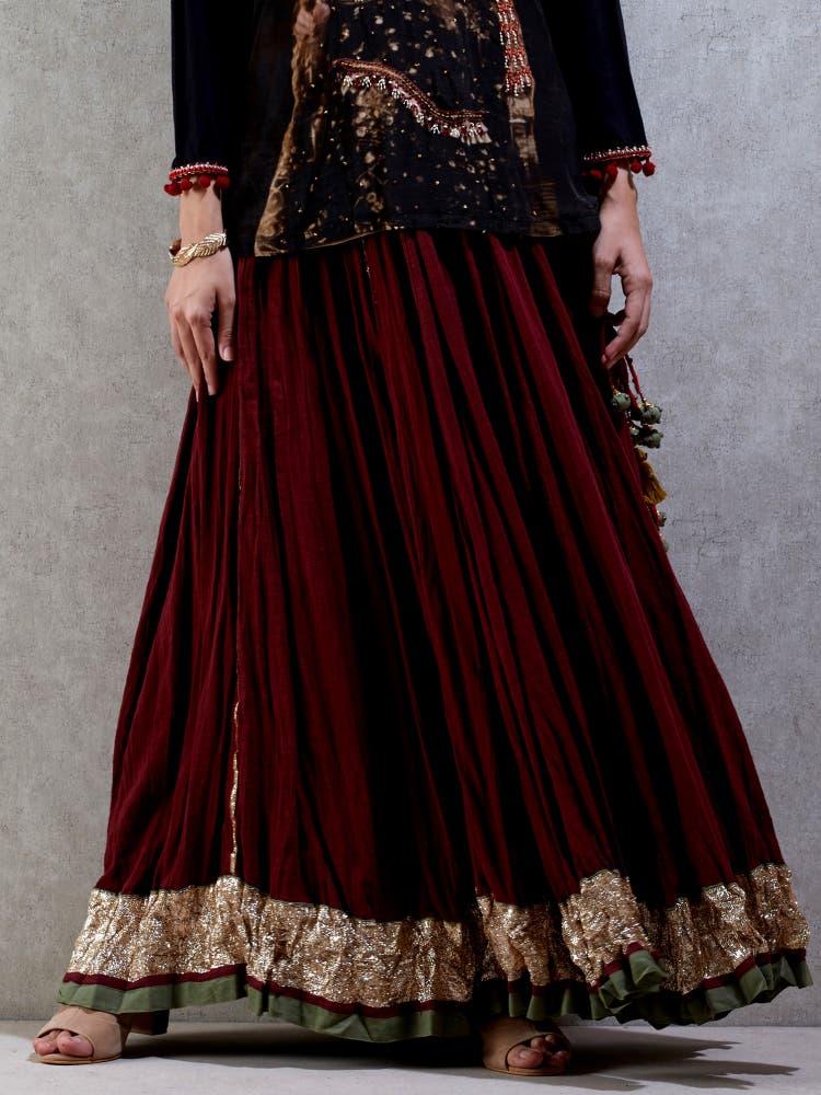 Black & Burgundy Crinckled Skirt