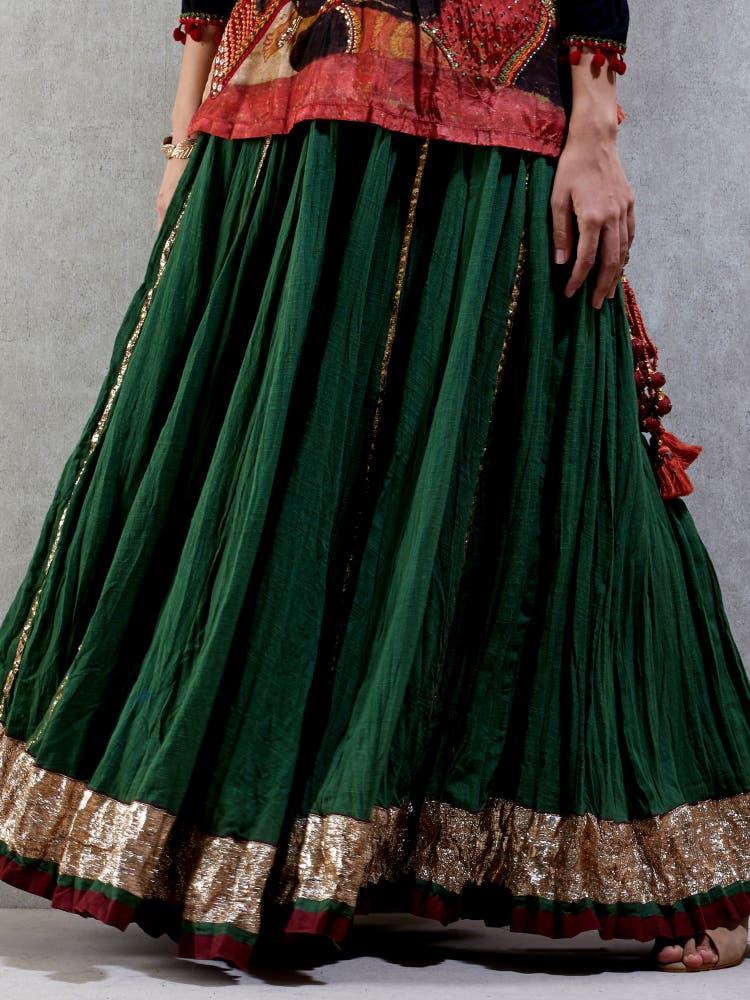 Black & Green Crinckled Skirt