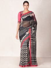 Black & Ecru Abstract Print Saree with Stitched Blouse