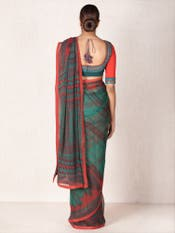 Emerald & Red Abstract Print Saree with Stitched Blouse
