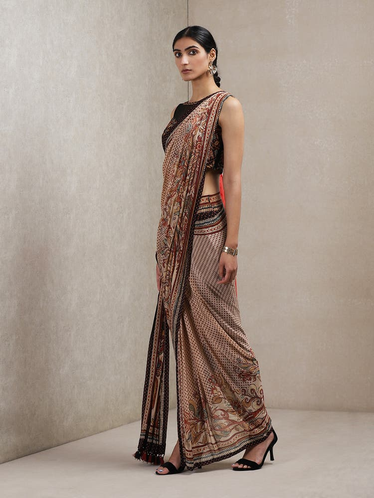 Beige Floral Print Saree with Stitched Blouse