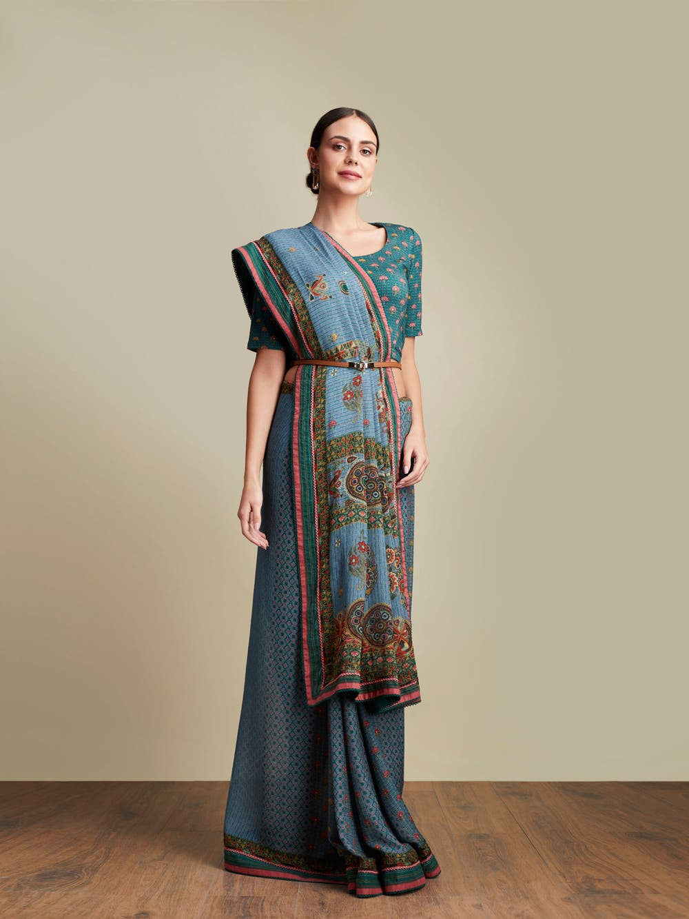 Powder Blue Embroidered Saree