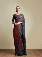 Brick Red & Indigo Geometric Print Saree