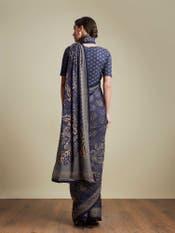 Indigo Floral Print Saree