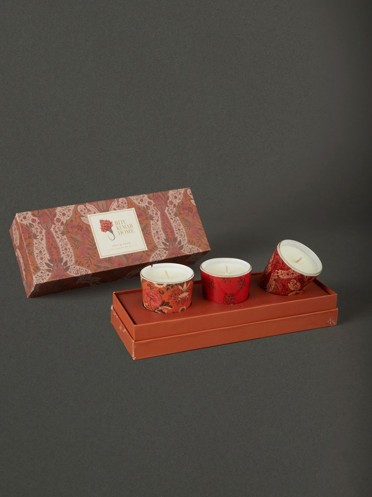Multi Color Chidambaram Candle Set (Set of 3)