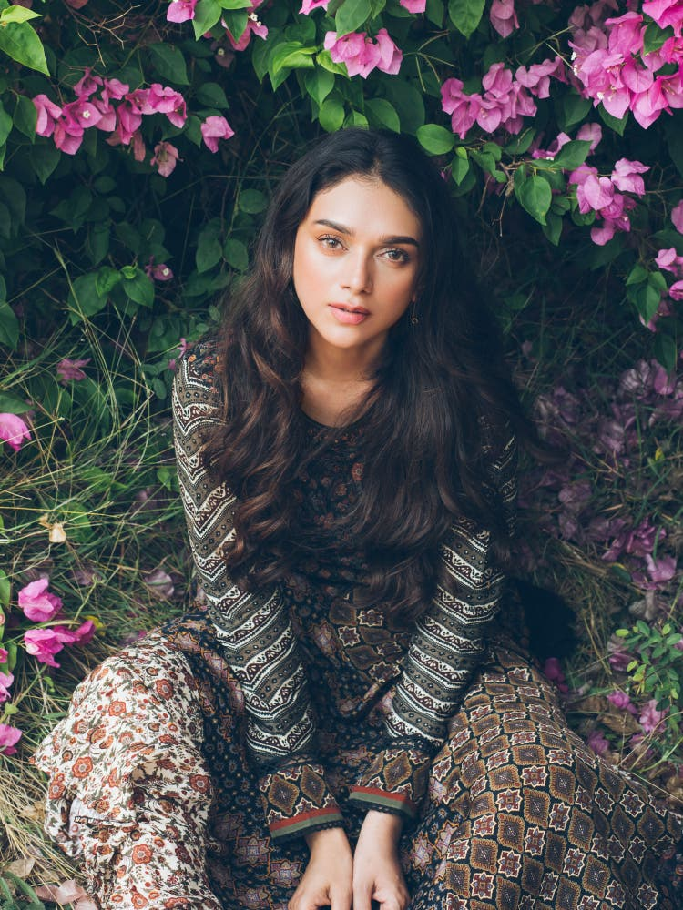 Aditi Rao Hydari in a Black & Brown Printed Asymmetrical Dress