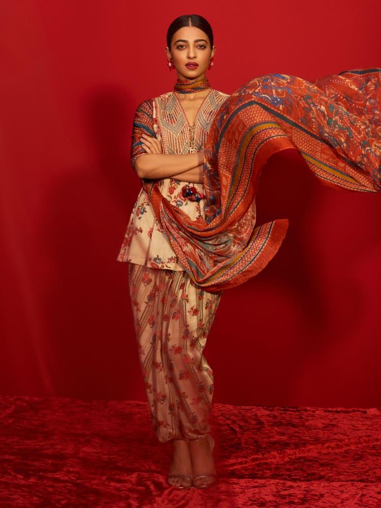Radhika Apte in an Ecru & Multi Coloured Floral Ensemble