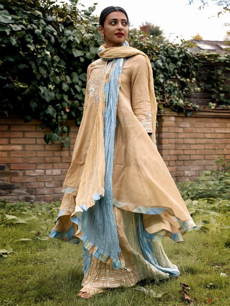 Radhika Apte in a Beige Embroidered Chanderi Suit Set