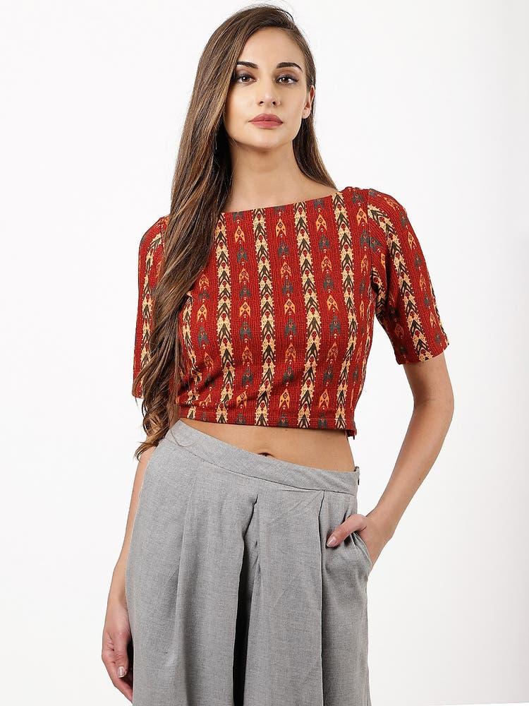 Crimson Ikat Print Blouse