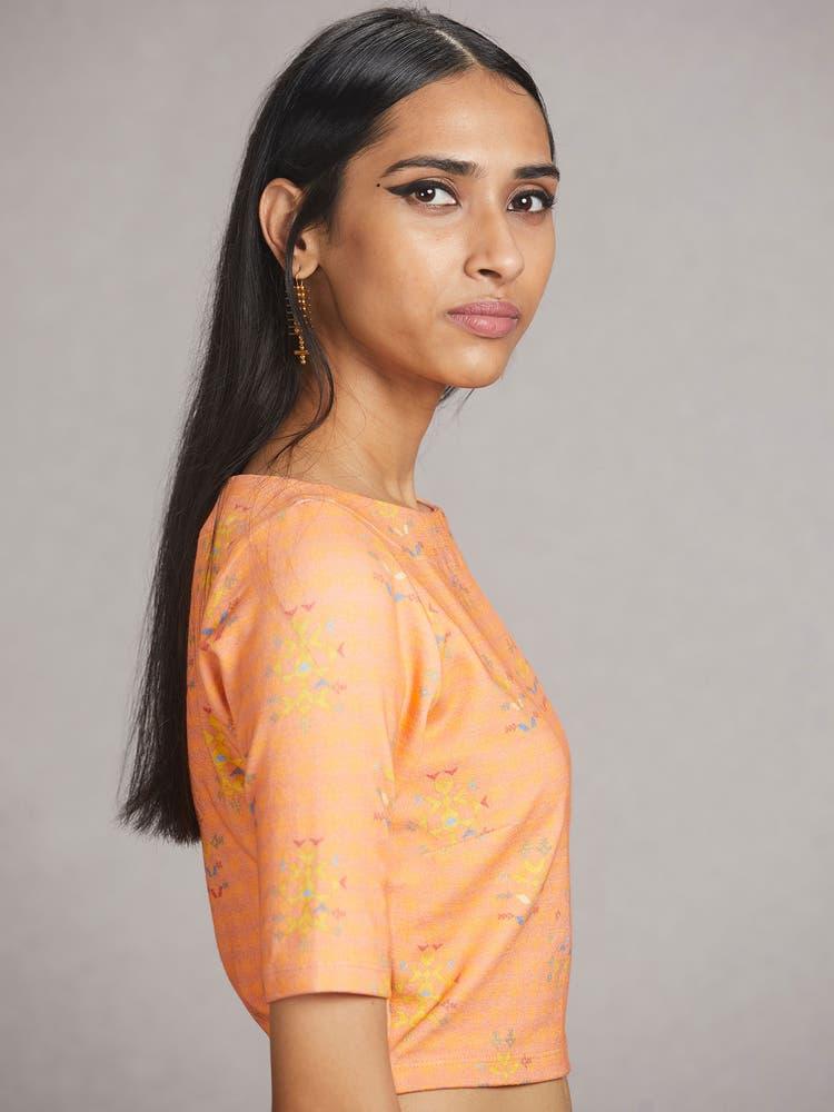 Peach  Floral Print Jersey Saree Blouse