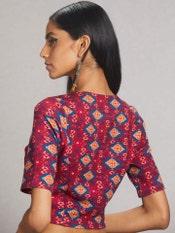 Magenta Geometric Print Jersey Saree Blouse
