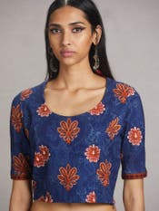 Blue Floral Print Jersey Saree Blouse