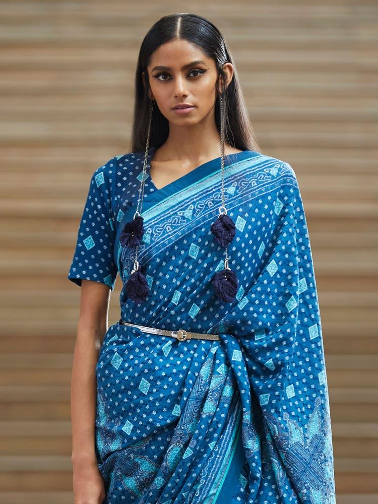 Blue Geometric Print Jersey Saree Blouse