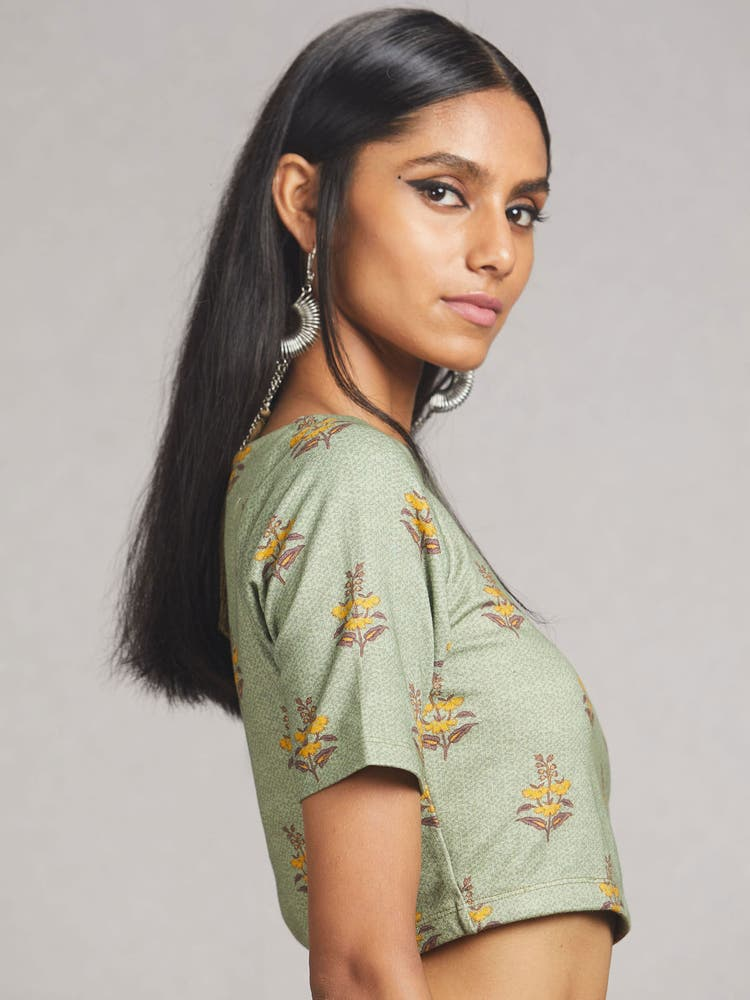 Green  Floral Print Jersey Saree Blouse
