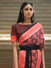 Black Geometric Print Jersey Saree Blouse