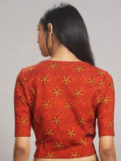 Rust Printed Jersey Saree Blouse