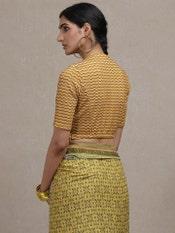 Yellow Printed Saree Blouse