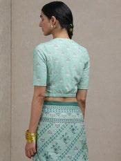 Green Printed Saree Blouse