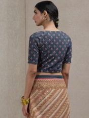 Navy Blue Printed Saree Blouse