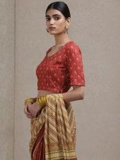 Red Printed Saree Blouse