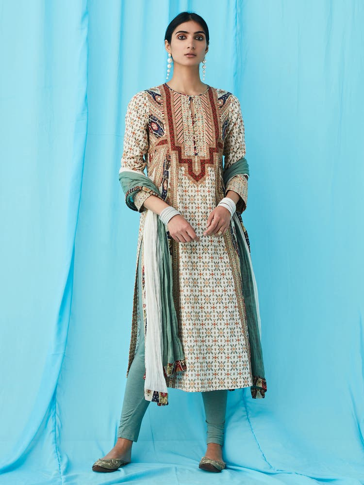 Beige Printed Suit Set