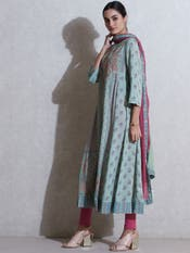 Pista Green Paisely Print Suit Set
