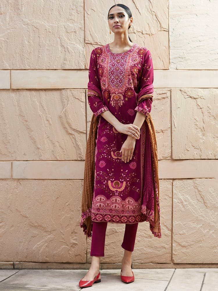 Magenta Embroidered Suit Set