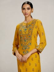 Yellow Printed Suit Set