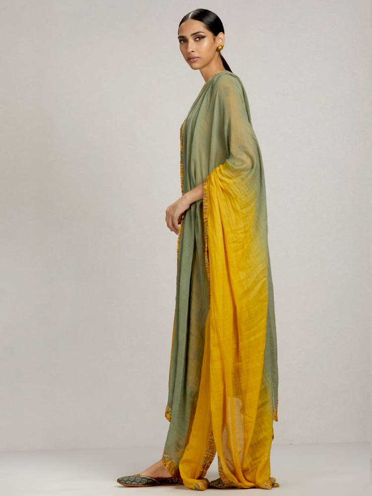 Yellow Printed Suit Set