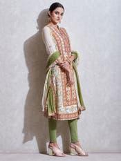 Ecru & Rust Embroidered Suit Set