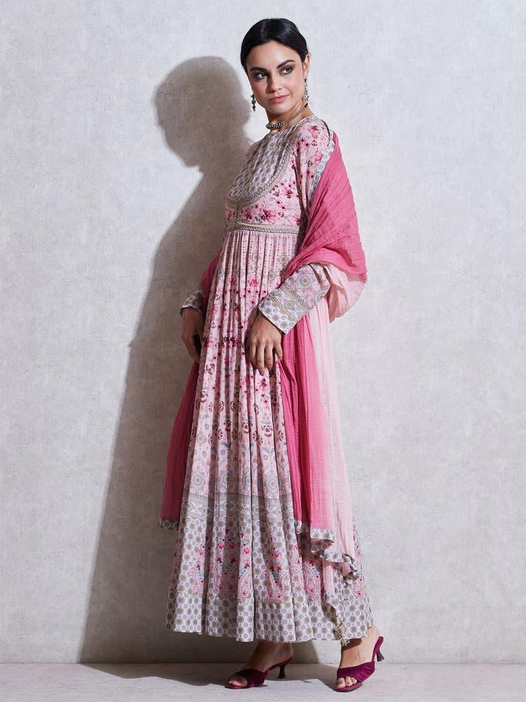 Pink Floral Anarkali Suit Set