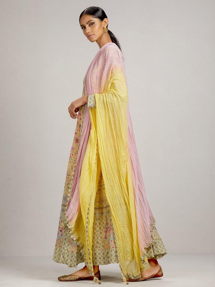 Yellow Floral Anarkali Suit Set