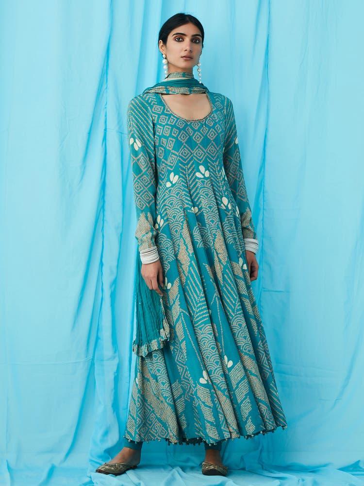 Blue Geometric Print Anarkali Suit Set