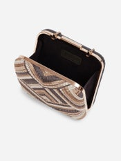 Grey Embroidered Clutch