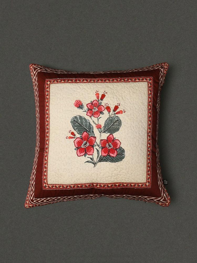 Ecru & Red Flora Cushion