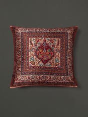 Beige & Maroon Cushion with Filler