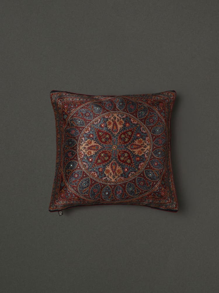 Blue Embroidered Cushion with Filler