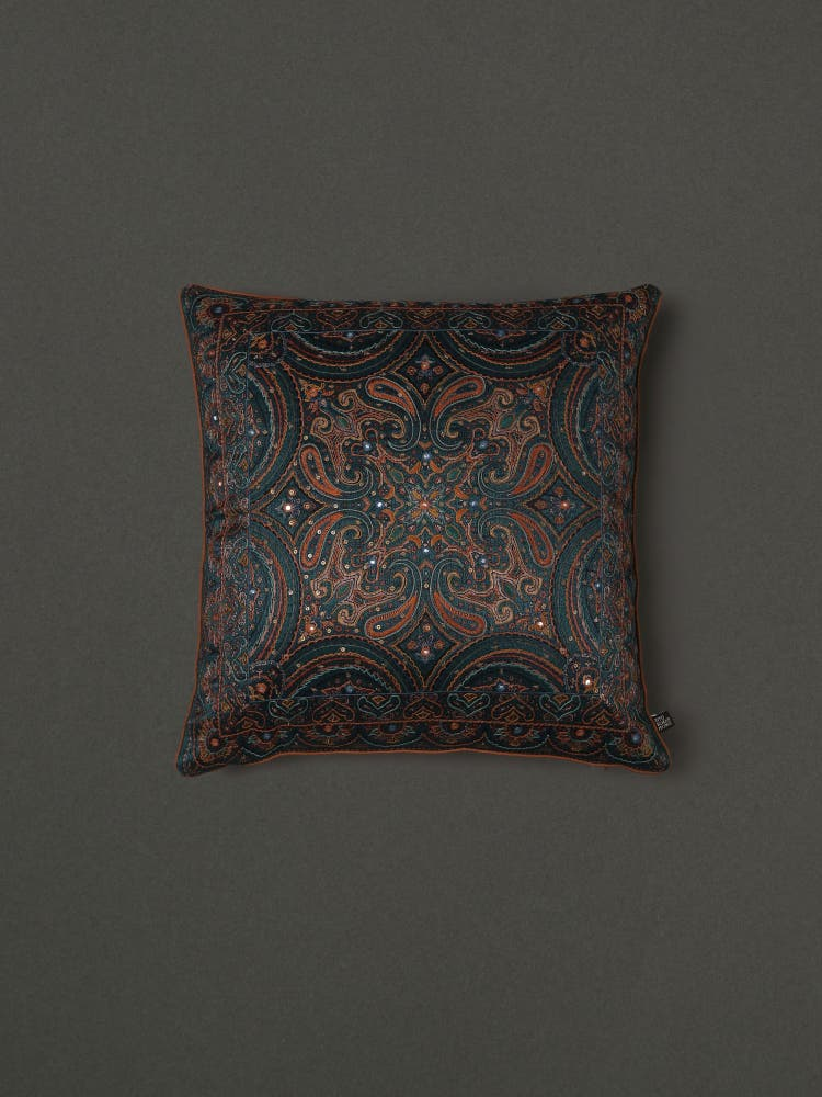 Emerald Embroidered Cushion with Filler