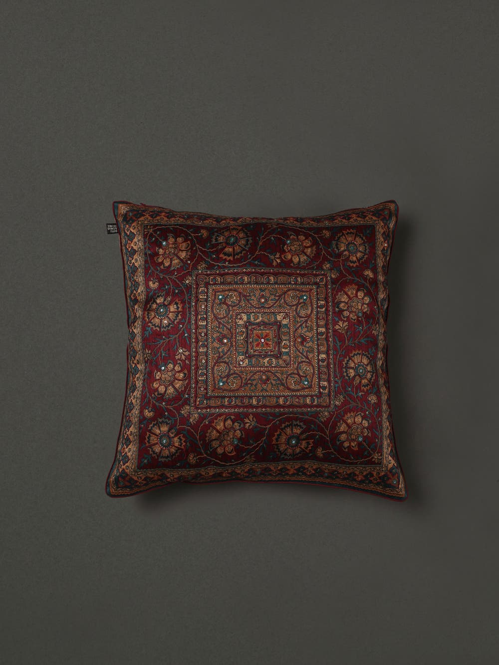 Maroon Embroidered Cushion with Filler